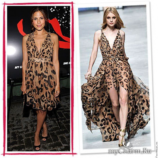 Платья с принтами, изображающими классическую леопардовую раскраску