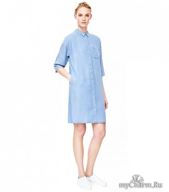 Платье-сафари. Это наиболее классический вариант платья деним. Почти то же самое, что платье-рубашка, но приталенное, иногда с погонами, более похоже на