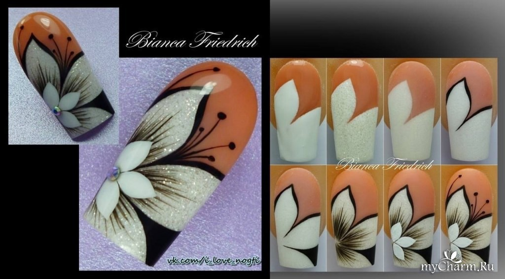 Пошаговое рисование цветов на ногтях