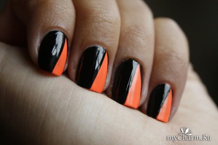 Ногти черные с оранжевым