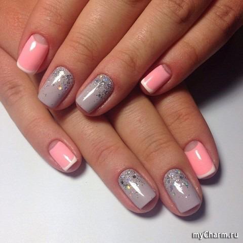 Дизайн ногтей с серым гель лаком