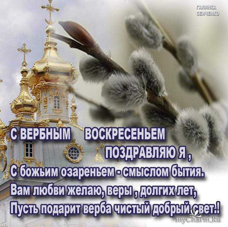 Поздравления с картинкой с вербным воскресенья