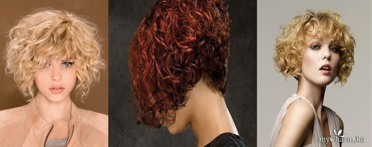 стрижки кудрявых волос с челками с фото