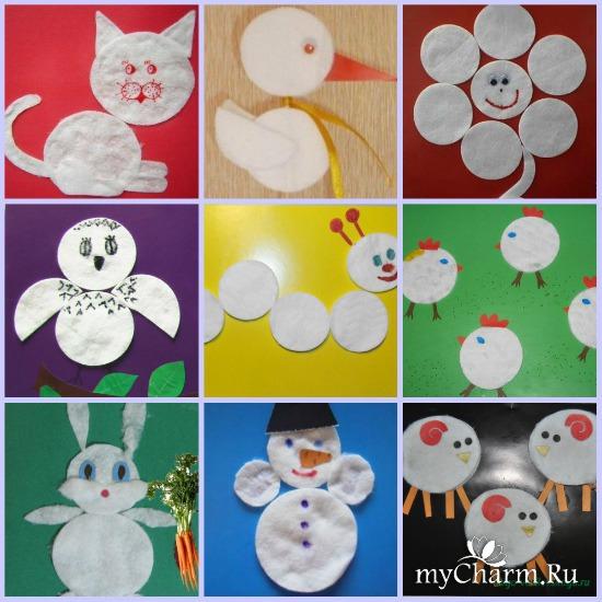 Аппликации из ватных дисков для детей 5-6 лет своими руками