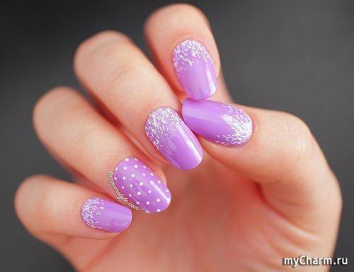 Ногти сиреневый цвет
