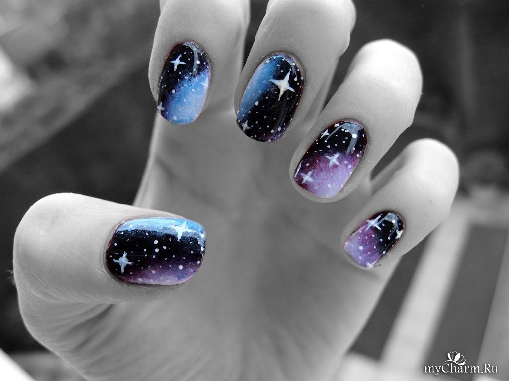 Фото ногтей с рисунками космос