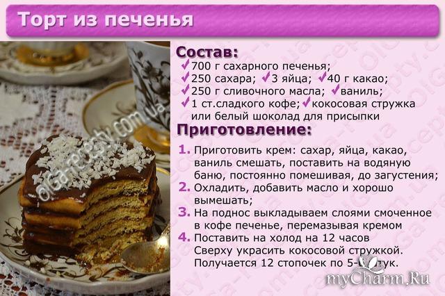 Распечатать рецепты и фото тортов