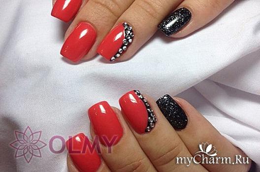 Красно черный маникюр на короткие ногти
