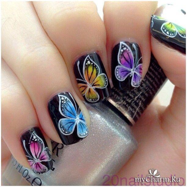 Маникюр бабочка на 2 ногтя