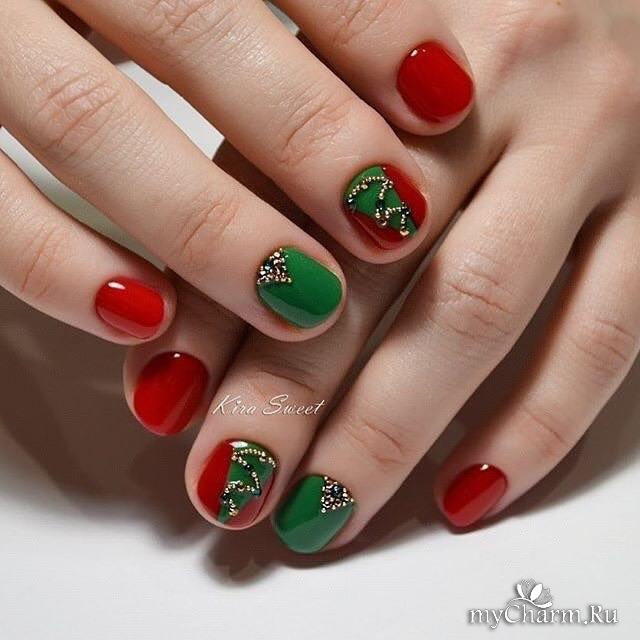 Зеленый маникюр на короткие ногти фото