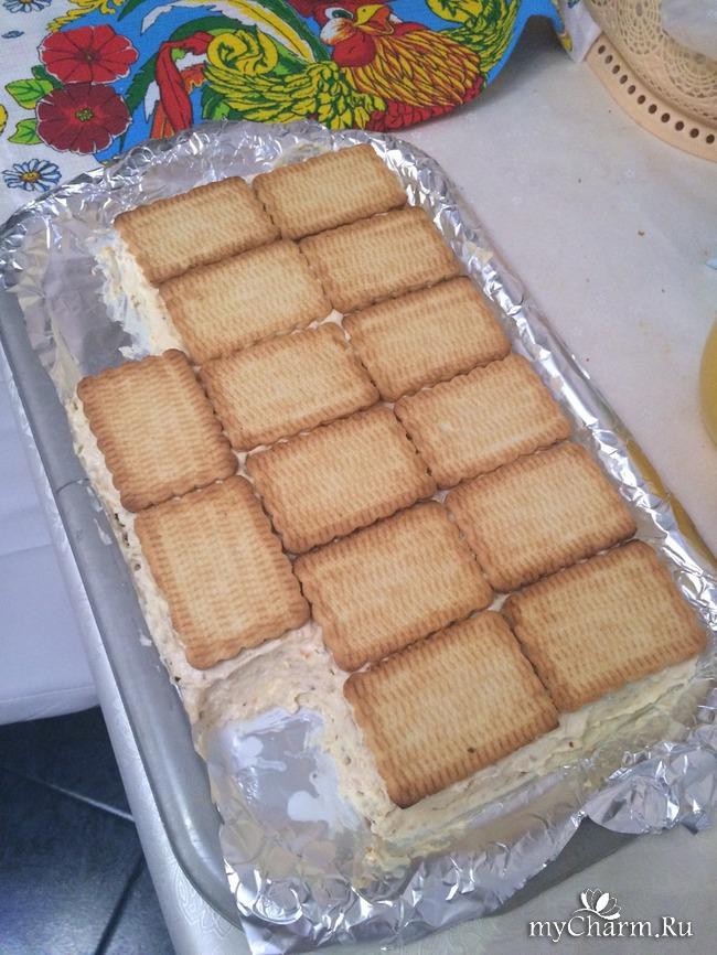 Торт из печенья с творогом рецепт с пошагово