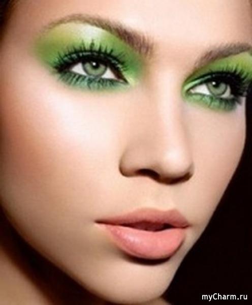 Как сделать макияж из зеленых теней