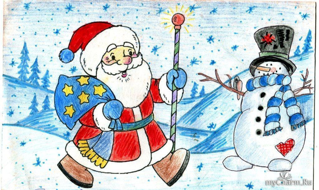 Как нарисовать открытку с дедом морозом 224