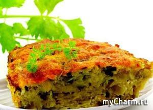 Запеканка из тертого картофеля, с капустой и грибами.