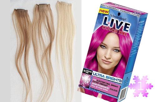Цветные вставки в волосах