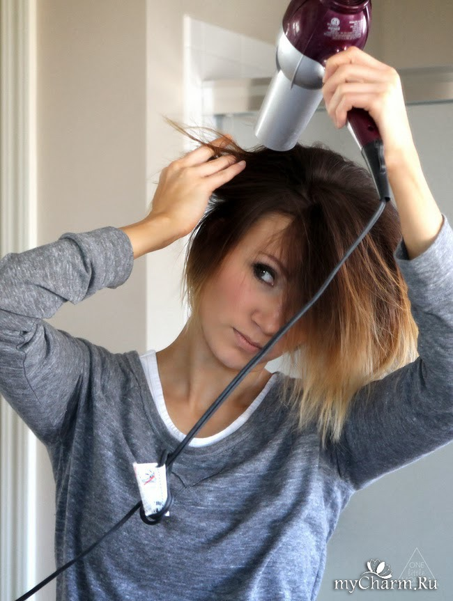 укладка волос феном коротких волос видео