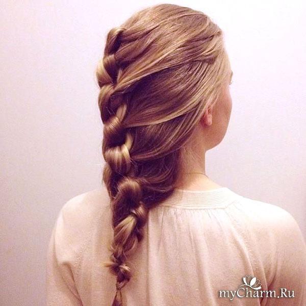 Коса плетённая назад