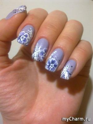 Дизайн ногтей акриловыми красками.