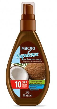 """Floresan / Водостойкое масло Масло для быстрого загара """"Карибское SPF 10"""" """"Пальмовый рай"""""""