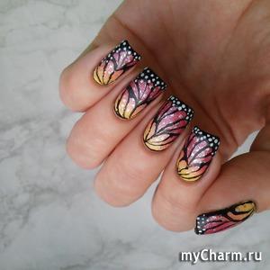 Рисунок на ногтях крылья бабочки фото