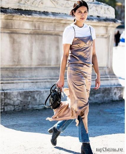 Платье на джинсы тренд
