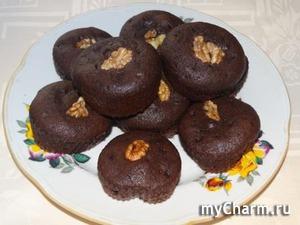 """Шоколадные маффины """"Горячее шоколадное сердце"""" по рецепту Марины (Golden_Nut)"""