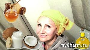 Mаска для волос из кокосового, оливкового масла и меда