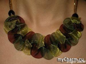 """Ожерелье """"Зеленый Дракон"""" МК (плетение косички из лент)."""