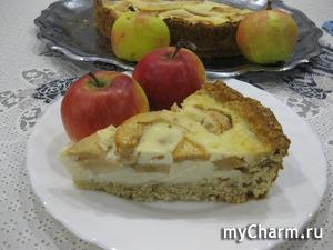 Овсянный пирог с яблоками в нежной заливке