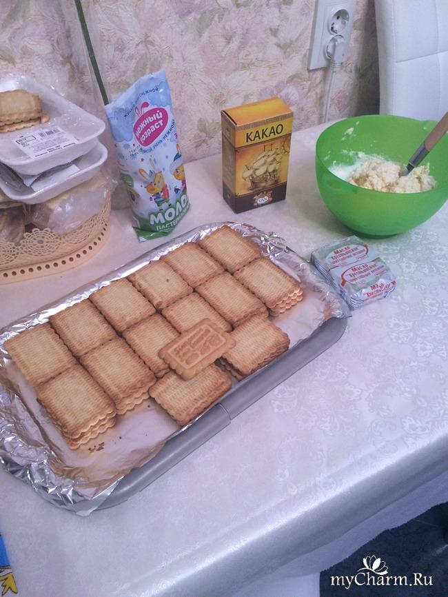 Тортик из печенья и творога