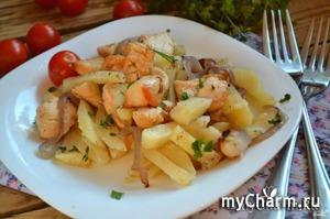 Нежная картошечка с куриным филе и армянскими травами в мультиварке!