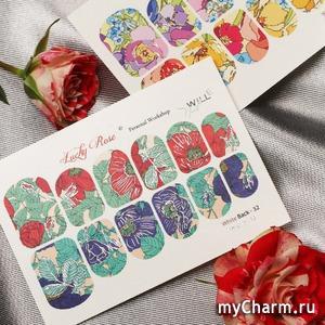 Lucky Rose / Слайдеры для ногтей White Back Metallic
