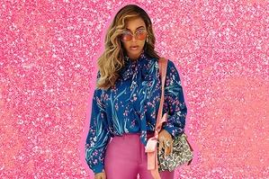 Бейонсе вырядилась в розовый и голубой