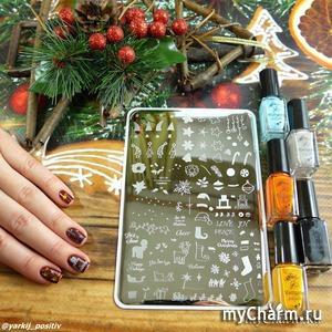 Многослойный стемпинг с плиткой Clear Jelly Stamper, или Как сделать не зимний дизайн с новогодней плиткой ;)