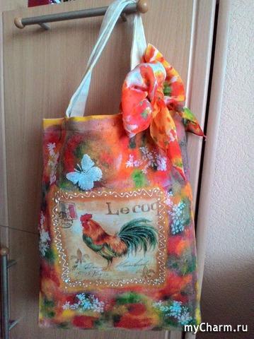 Эко-сумка. Декупаж по текстилю
