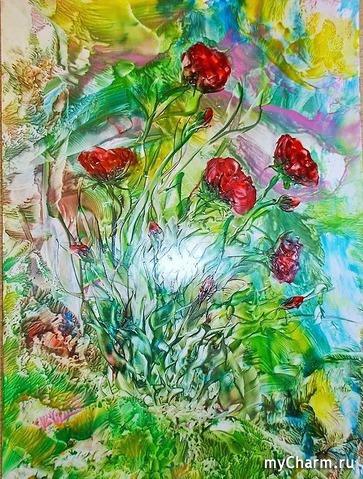 Цветы. Энкаустика (рисование утюгом)