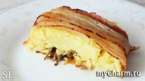 Необыкновенная Вкуснятина! Рулет из картофеля, грибов, сыра и бекона! Рецепт