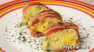 Картофельный рулет с сыром и беконом. Быстро и Вкусно! Рецепт!