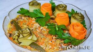 Салат Без майонеза с куриной печенью и шампиньонами. Рецепт Вкусного Салата из простых продуктов