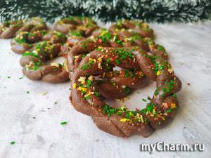 Шоколадное печенье «Рождественские веночки». Подарок на Рождество!