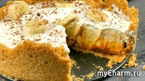 Вкусный и простой торт без выпечки из печенья с бананом