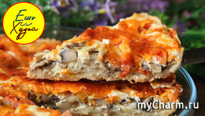 Ем пироги и худею! Изумительный открытый пирог с грибами. Муж просил добавки, хотя он не не ПП