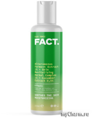 FACT / Увлажняющий успокаивающий мягкий тоник для лица с ферментами альтермонаса, восстанавливающим комплексом трав и экстрактом огурца